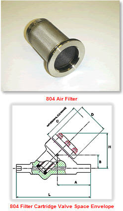 cartridge valve air filter 804